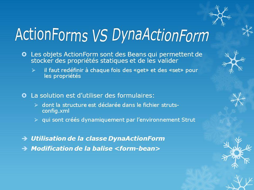 Class DynaActionForm: Elle possède la même méthode validate() que ActionForm: Utilise Les méthodes: get(String): donne la valeur de la proprieté donnée en paramètre: String ma_prop= (String)this.get(nom); Set(String, object): modifie la valeur de la proprieté donnée en paramètre