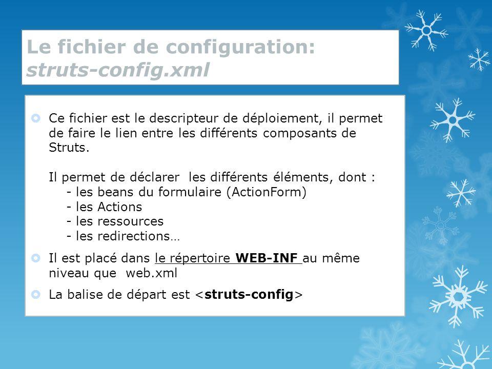 intégration dans lapplication web Ce fichier de configuration est précisé et est déclaré dans le fichier web.xml de lapplication à laide des lignes suivantes : (à ajouter dans la balise ) ------------------------------------------------------------------------- config /WEB-INF/struts-config.xml