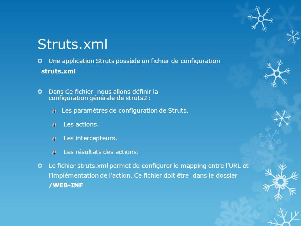 Les Actions: Dans Struts2 les beans formulaires « ActionForm » ont disparu.