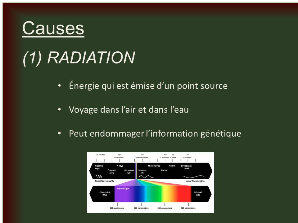 _ _ Causes (1) RADIATION Énergie qui est émise dun point source Voyage dans lair et dans leau Peut endommager linformation génétique