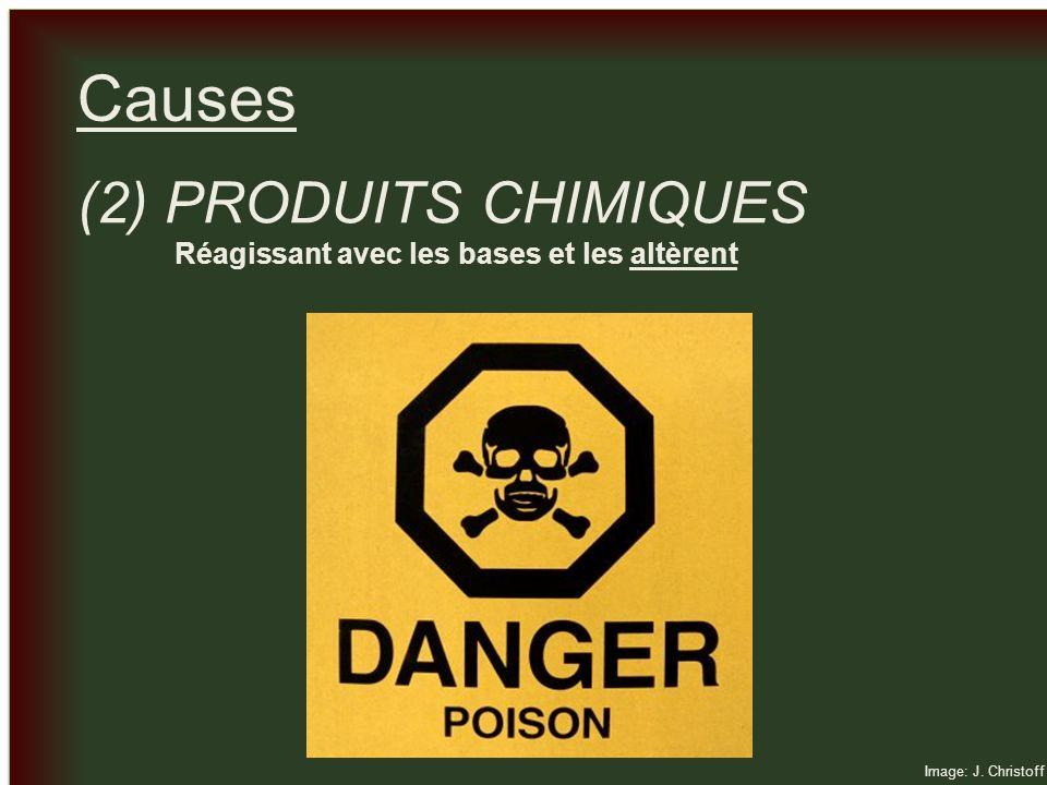 _ _ Causes (2) PRODUITS CHIMIQUES Réagissant avec les bases et les altèrent Image: J. Christoff