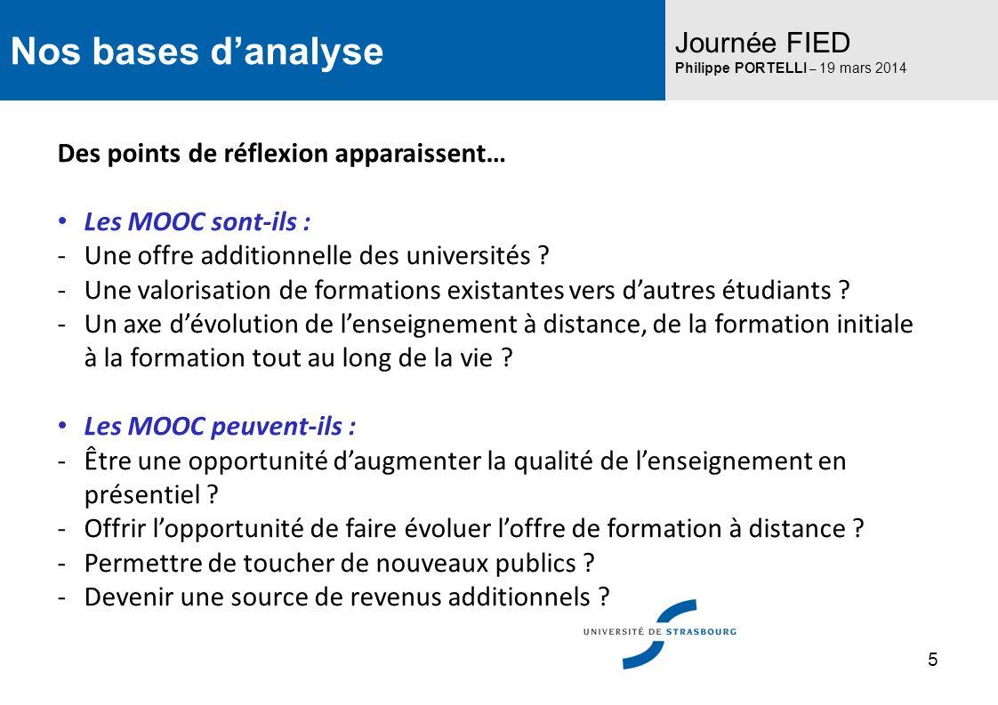 Nos bases danalyse Journée FIED Philippe PORTELLI – 19 mars 2014 Des points de réflexion apparaissent… Les MOOC sont-ils : -Une offre additionnelle de