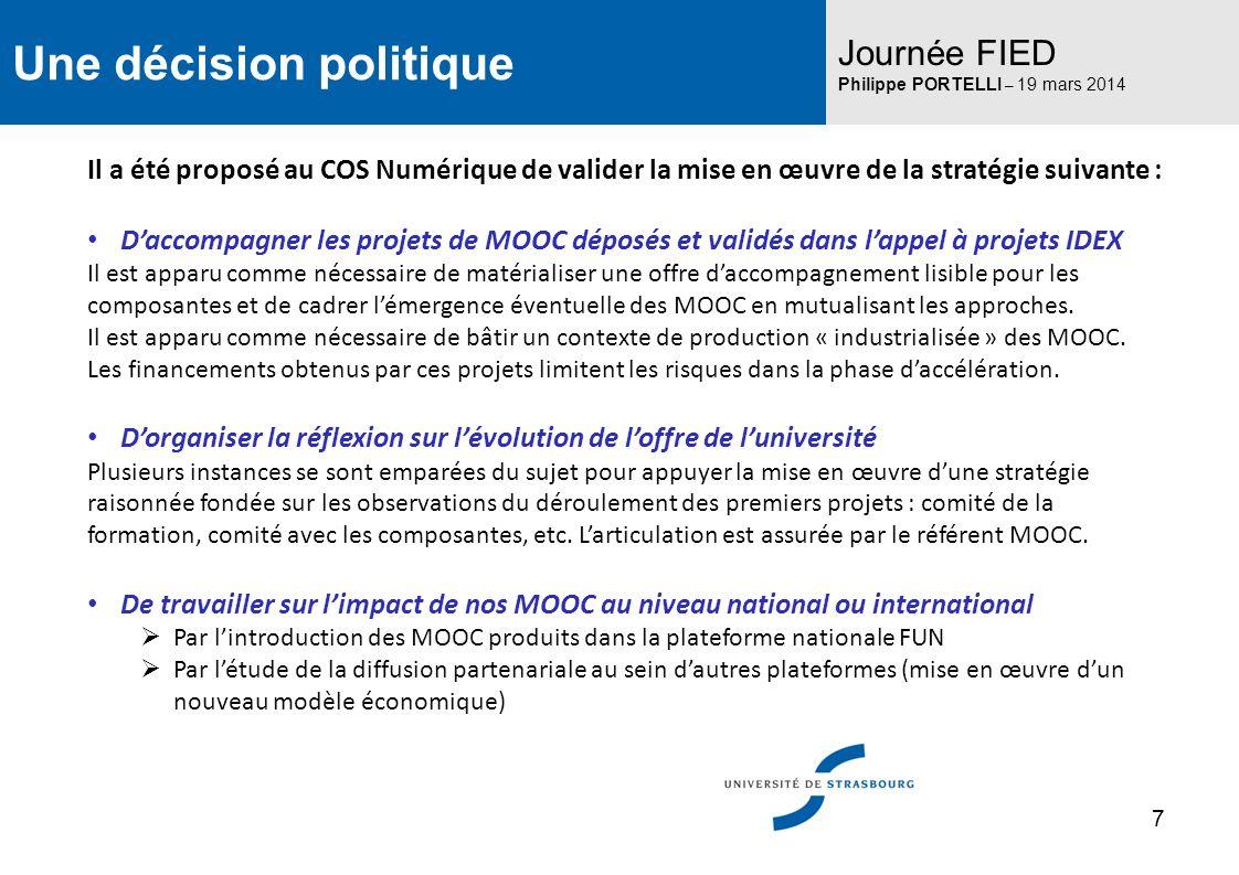 Une décision politique Journée FIED Philippe PORTELLI – 19 mars 2014 Il a été proposé au COS Numérique de valider la mise en œuvre de la stratégie sui