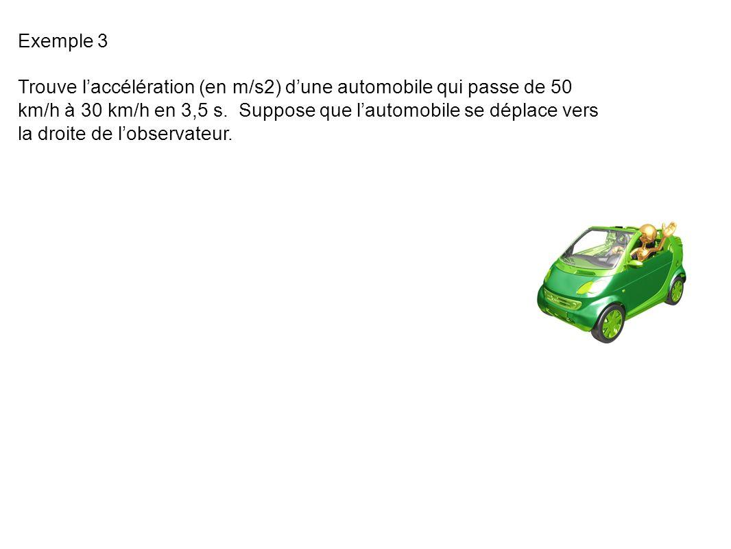 Exemple 3 Trouve laccélération (en m/s2) dune automobile qui passe de 50 km/h à 30 km/h en 3,5 s.