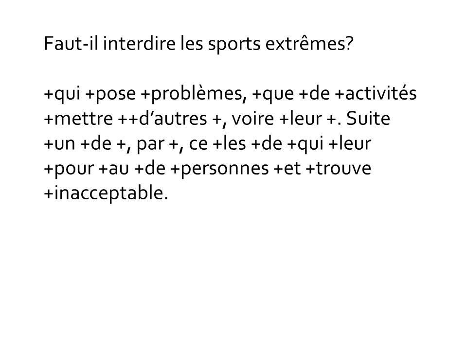 Faut-il interdire les sports extrêmes? +qui +pose +problèmes, +que +de +activités +mettre ++dautres +, voire +leur +. Suite +un +de +, par +, ce +les
