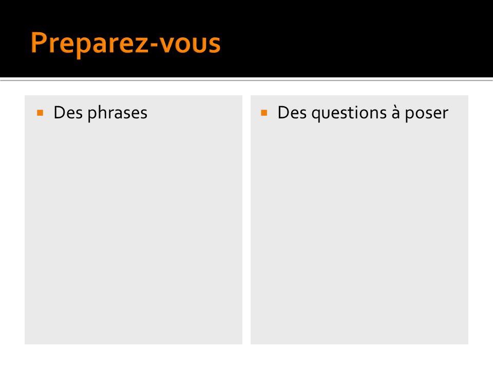Des phrases Des questions à poser