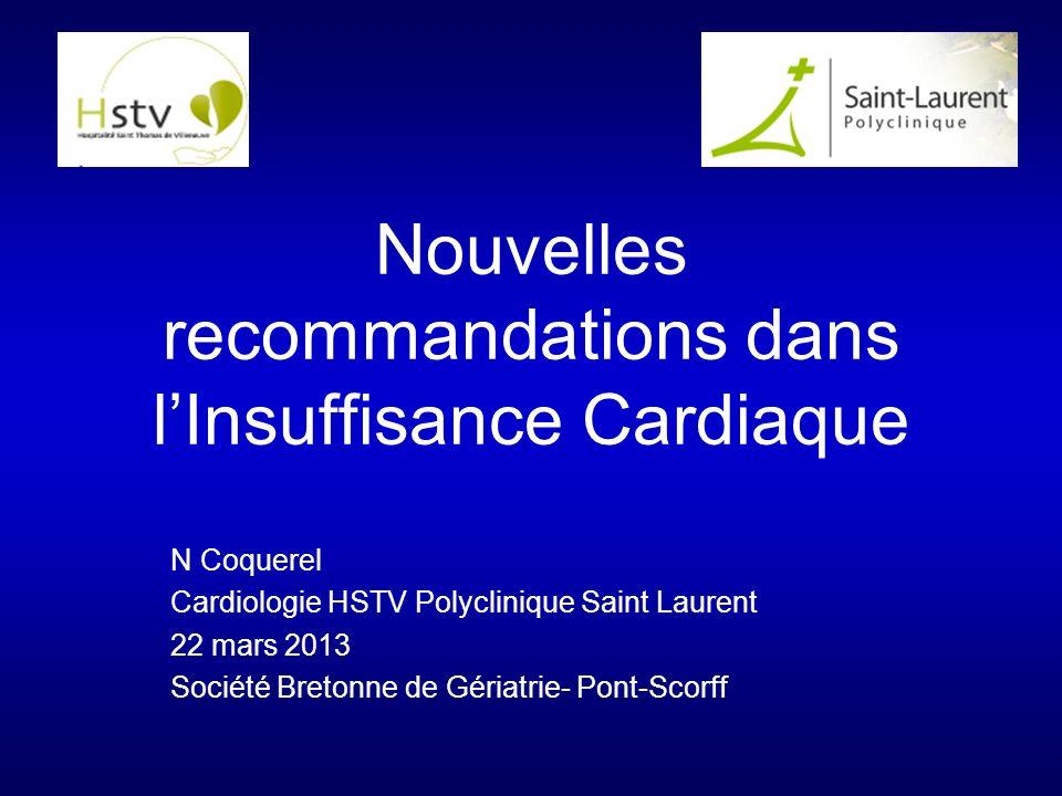 Nouvelles recommandations dans lInsuffisance Cardiaque N Coquerel Cardiologie HSTV Polyclinique Saint Laurent 22 mars 2013 Société Bretonne de Gériatrie- Pont-Scorff