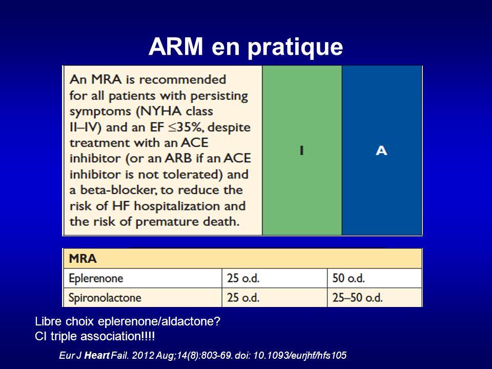 ARM en pratique Eur J Heart Fail.2012 Aug;14(8):803-69.
