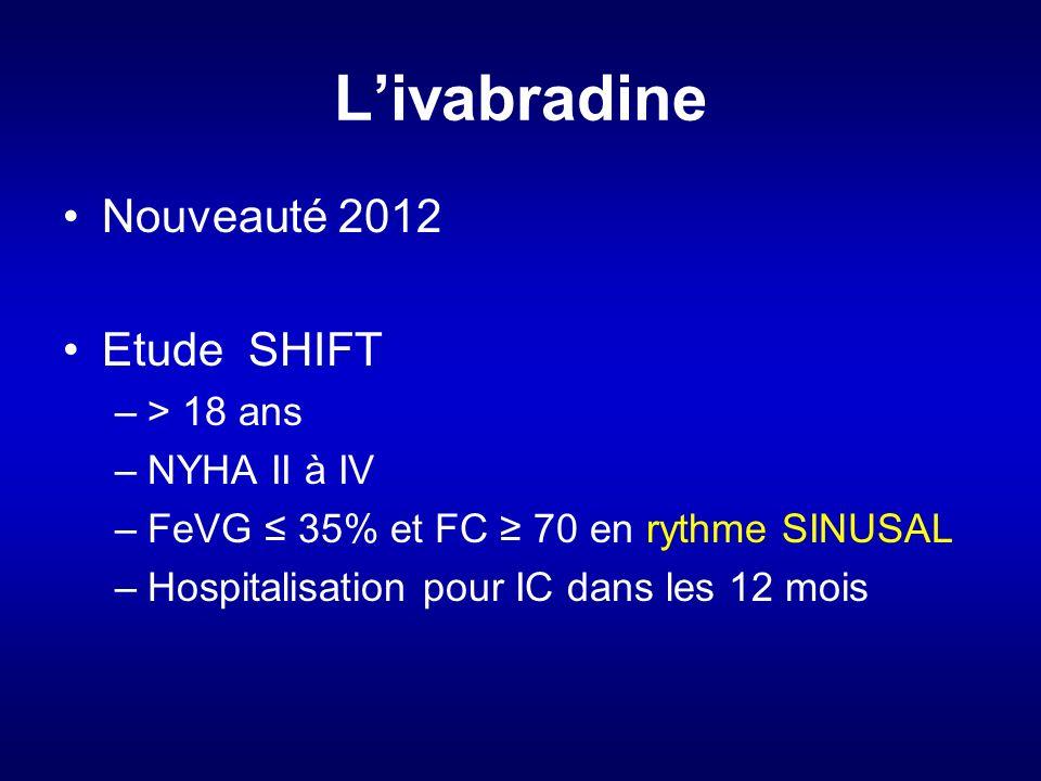 Livabradine Nouveauté 2012 Etude SHIFT –> 18 ans –NYHA II à IV –FeVG 35% et FC 70 en rythme SINUSAL –Hospitalisation pour IC dans les 12 mois