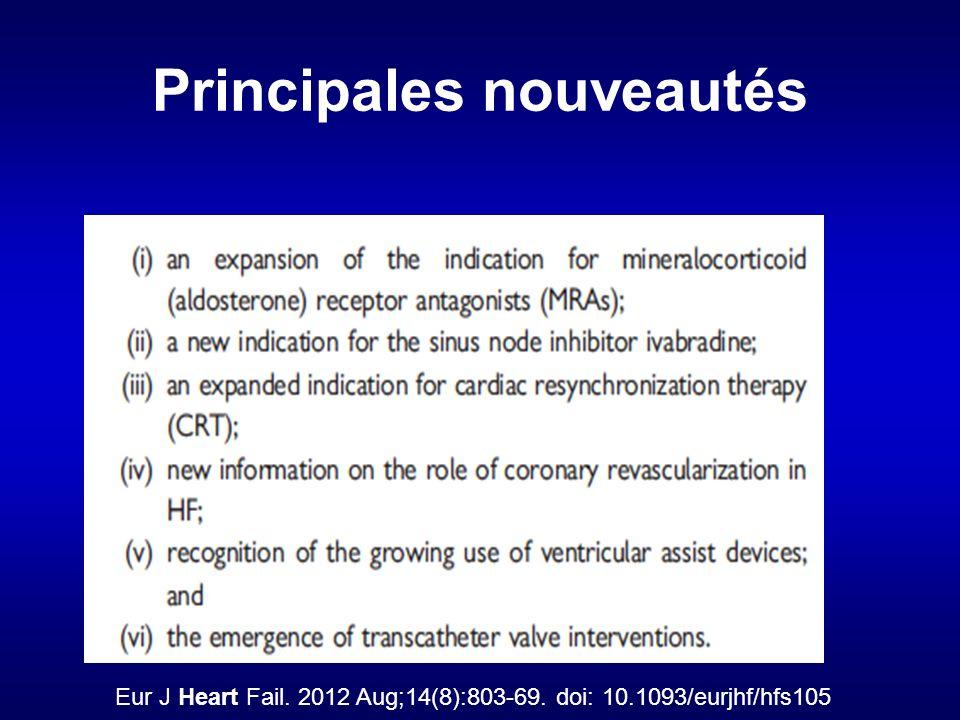 Principales nouveautés Eur J Heart Fail. 2012 Aug;14(8):803-69. doi: 10.1093/eurjhf/hfs105