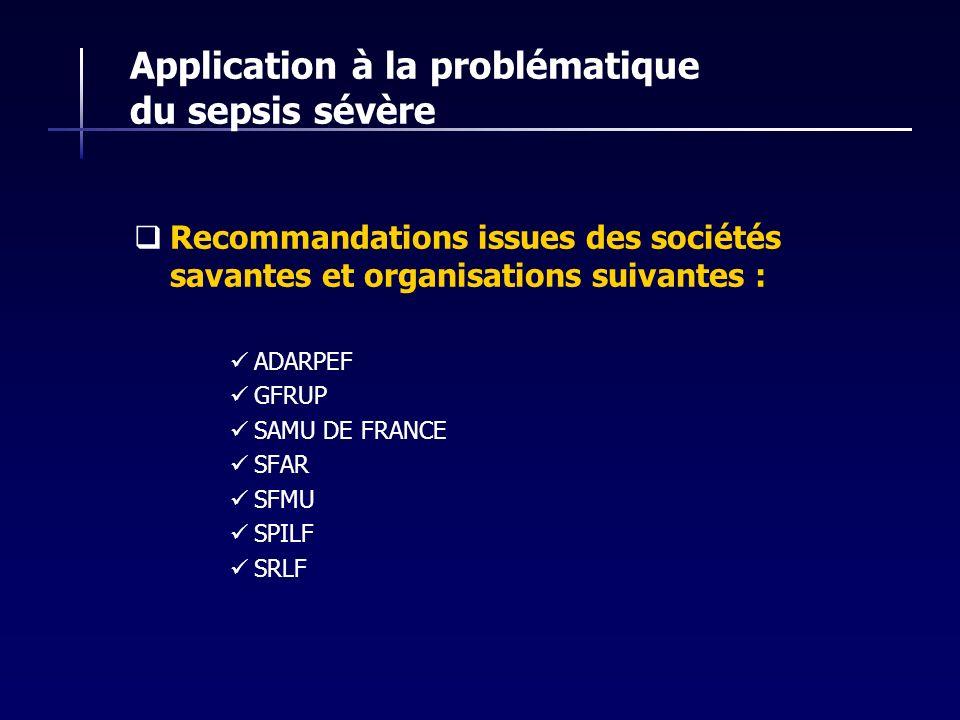 Application à la problématique du sepsis sévère Recommandations issues des sociétés savantes et organisations suivantes : ADARPEF GFRUP SAMU DE FRANCE