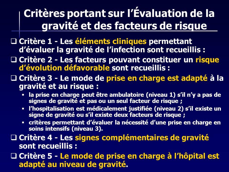 Critères portant sur lÉvaluation de la gravité et des facteurs de risque Critère 1 - Les éléments cliniques permettant dévaluer la gravité de linfecti