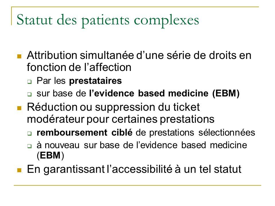 Statut des patients complexes Attribution simultanée dune série de droits en fonction de laffection Par les prestataires sur base de levidence based m