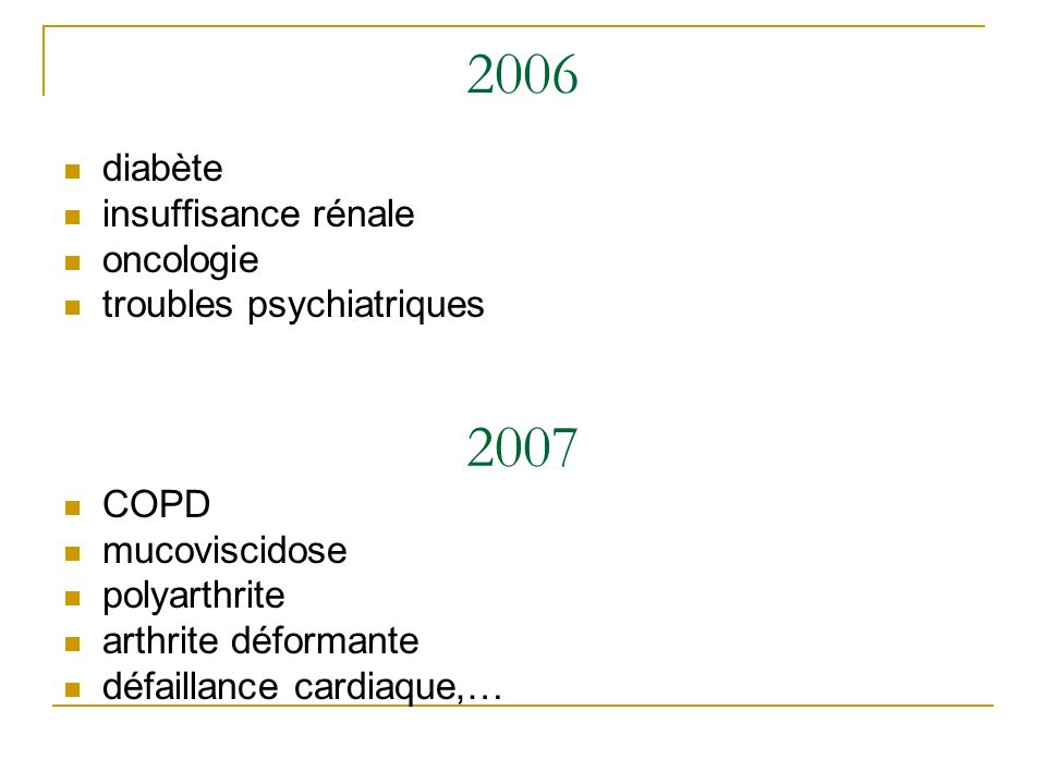 2006 diabète insuffisance rénale oncologie troubles psychiatriques 2007 COPD mucoviscidose polyarthrite arthrite déformante défaillance cardiaque,…