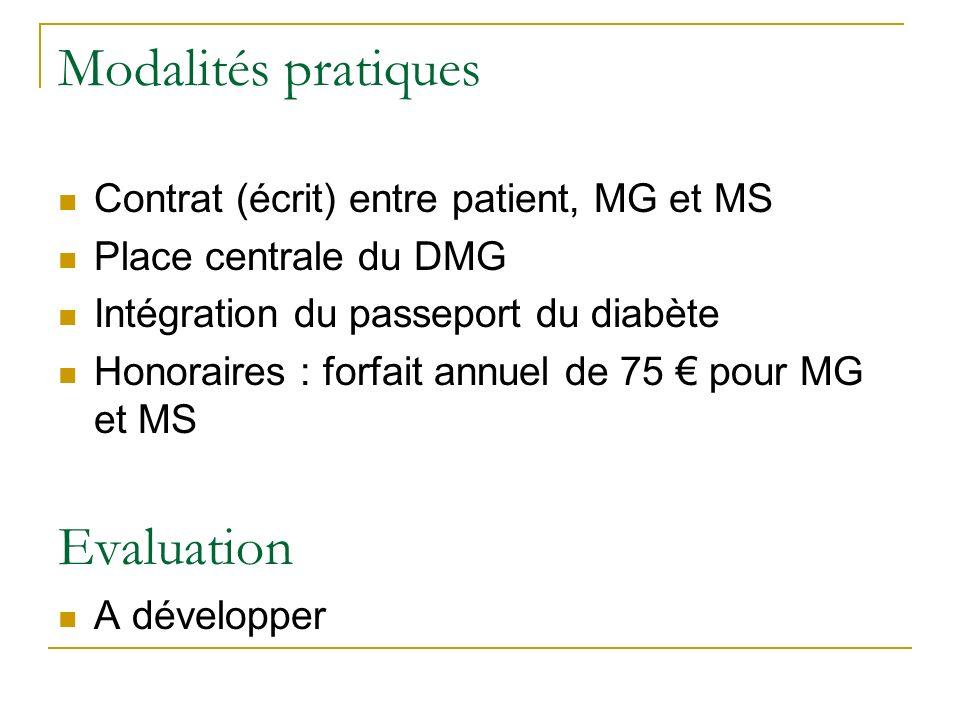 Modalités pratiques Contrat (écrit) entre patient, MG et MS Place centrale du DMG Intégration du passeport du diabète Honoraires : forfait annuel de 75 pour MG et MS Evaluation A développer