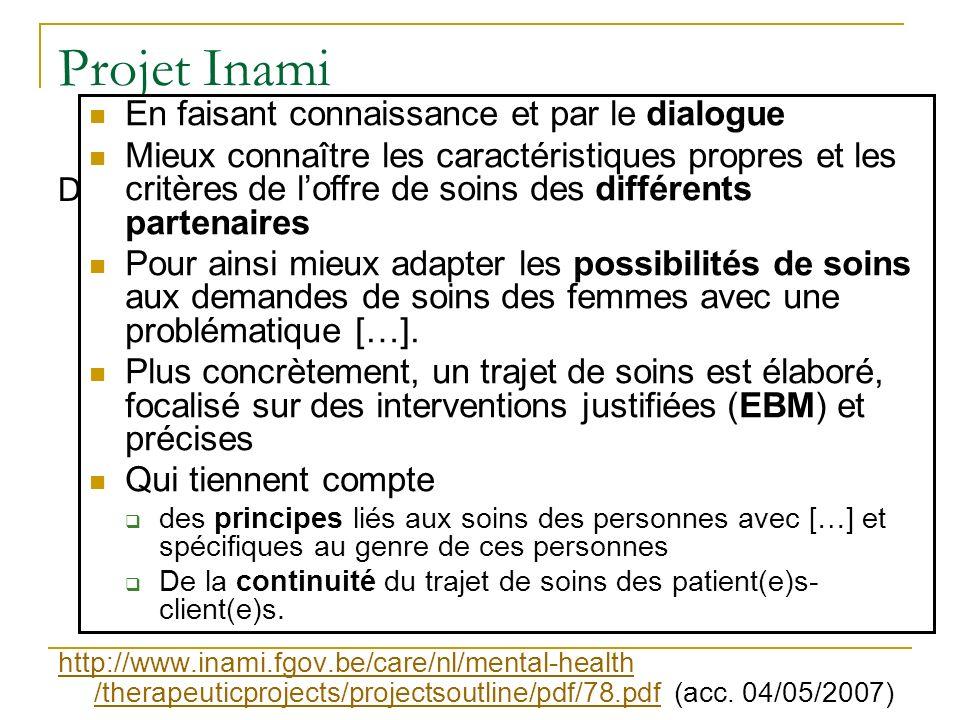 Projet Inami Door kennismaking en onderling overleg beter zicht krijgen op de criteria en eigenheid van het behandelingsaanbod van de verschillende de
