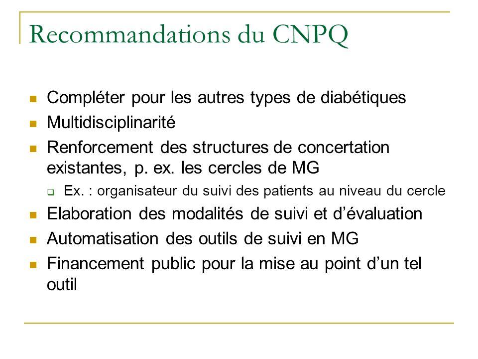 Recommandations du CNPQ Compléter pour les autres types de diabétiques Multidisciplinarité Renforcement des structures de concertation existantes, p.