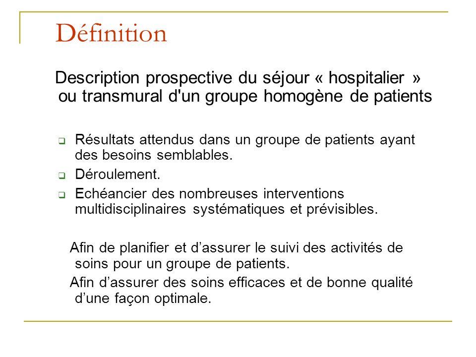 Définition Description prospective du séjour « hospitalier » ou transmural d un groupe homogène de patients Résultats attendus dans un groupe de patients ayant des besoins semblables.