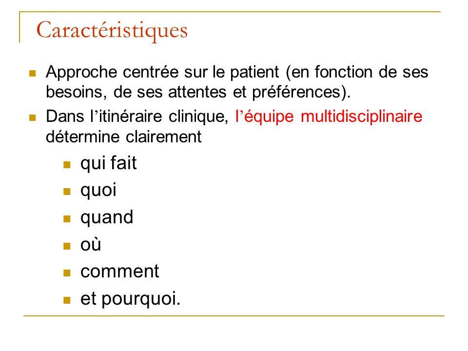 Caractéristiques Approche centrée sur le patient (en fonction de ses besoins, de ses attentes et préférences).