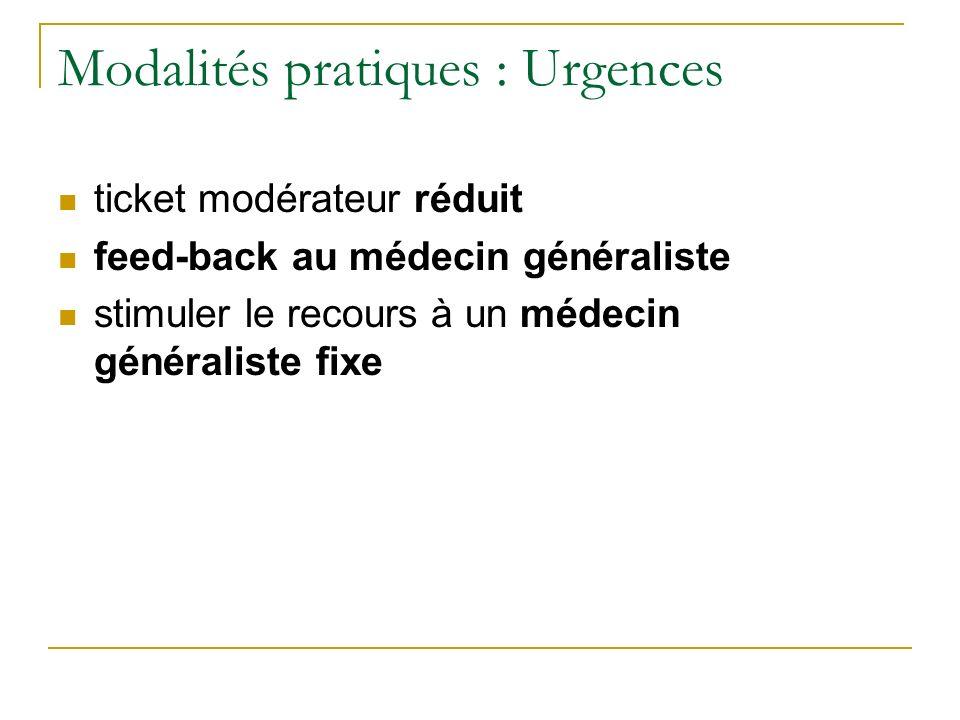 Modalités pratiques : Urgences ticket modérateur réduit feed-back au médecin généraliste stimuler le recours à un médecin généraliste fixe