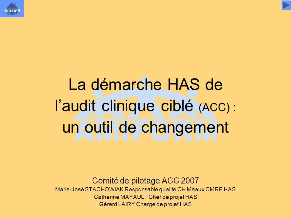 La démarche HAS de laudit clinique ciblé (ACC) : un outil de changement Comité de pilotage ACC 2007 Marie-José STACHOWIAK Responsable qualité CH Meaux
