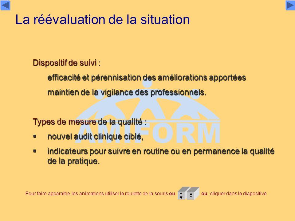 Dispositif de suivi : efficacité et pérennisation des améliorations apportées maintien de la vigilance des professionnels. Types de mesure de la quali