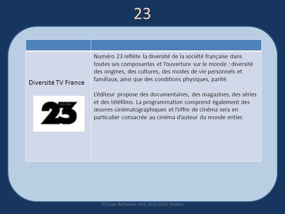 23 Philippe Bellissent IPAG 2013-2014 Médias Diversité TV France Numéro 23 reflète la diversité de la société française dans toutes ses composantes et louverture sur le monde : diversité des origines, des cultures, des modes de vie personnels et familiaux, ainsi que des conditions physiques, parité.