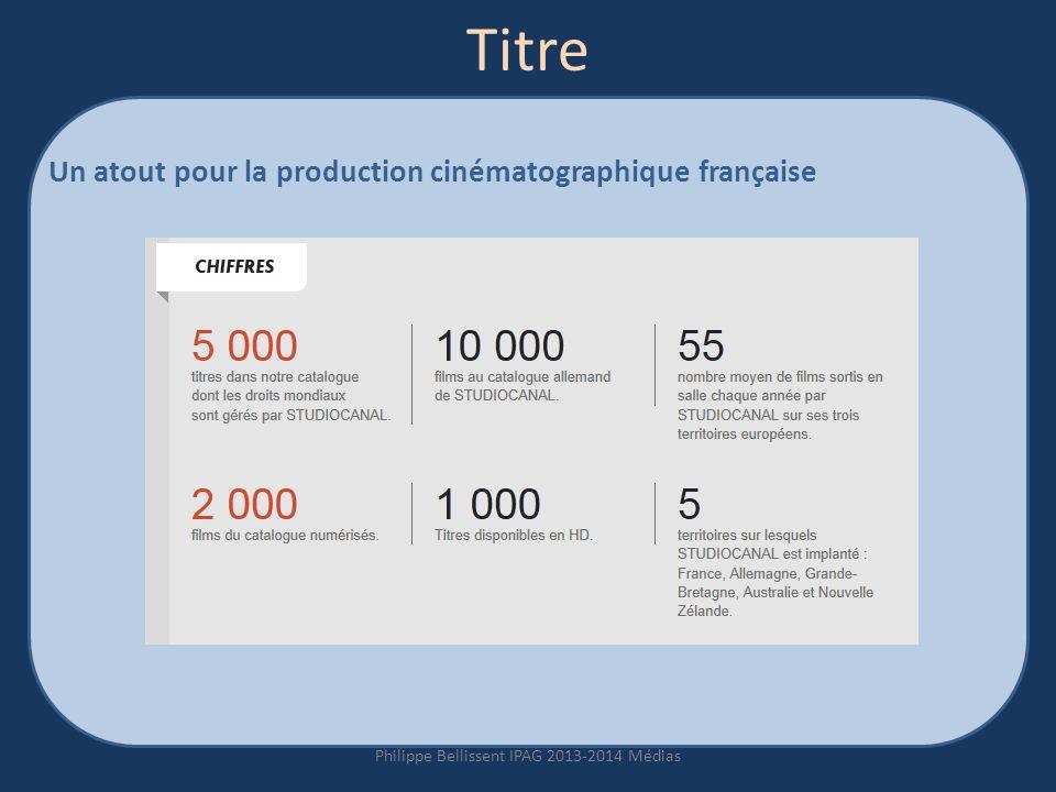Titre Un atout pour la production cinématographique française Philippe Bellissent IPAG 2013-2014 Médias