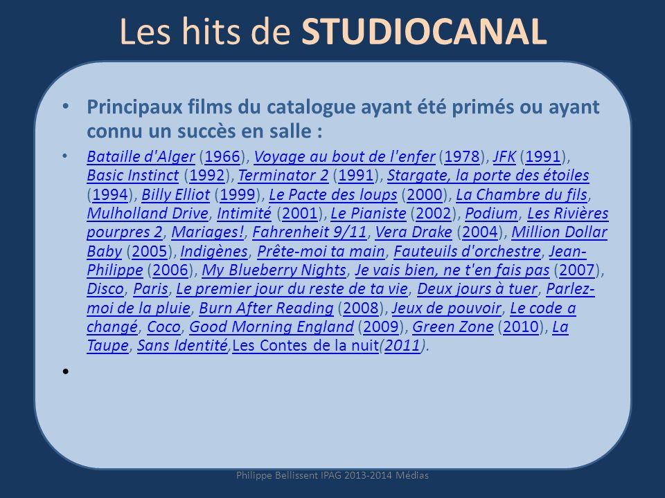 Les hits de STUDIOCANAL Principaux films du catalogue ayant été primés ou ayant connu un succès en salle : Bataille d Alger (1966), Voyage au bout de l enfer (1978), JFK (1991), Basic Instinct (1992), Terminator 2 (1991), Stargate, la porte des étoiles (1994), Billy Elliot (1999), Le Pacte des loups (2000), La Chambre du fils, Mulholland Drive, Intimité (2001), Le Pianiste (2002), Podium, Les Rivières pourpres 2, Mariages!, Fahrenheit 9/11, Vera Drake (2004), Million Dollar Baby (2005), Indigènes, Prête-moi ta main, Fauteuils d orchestre, Jean- Philippe (2006), My Blueberry Nights, Je vais bien, ne t en fais pas (2007), Disco, Paris, Le premier jour du reste de ta vie, Deux jours à tuer, Parlez- moi de la pluie, Burn After Reading (2008), Jeux de pouvoir, Le code a changé, Coco, Good Morning England (2009), Green Zone (2010), La Taupe, Sans Identité,Les Contes de la nuit(2011).