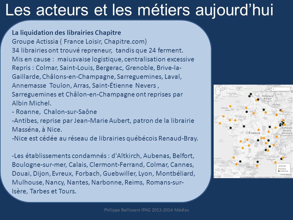 Les acteurs et les métiers aujourdhui La liquidation des librairies Chapitre Groupe Actissia ( France Loisir, Chapitre.com) 34 librairies ont trouvé repreneur, tandis que 24 ferment.