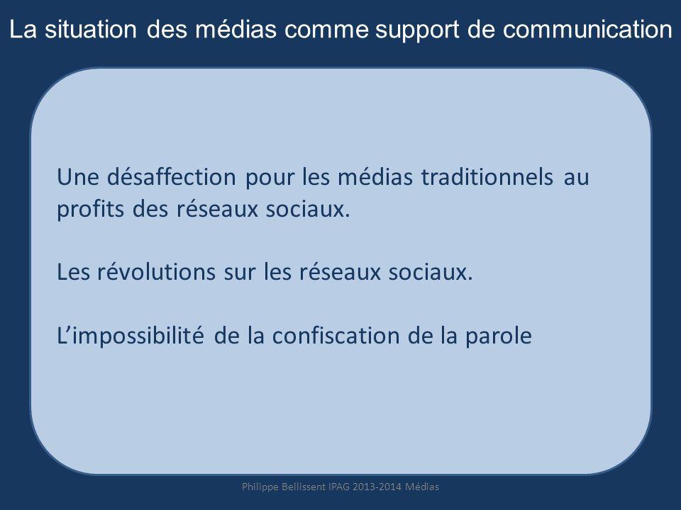 La situation des médias comme support de communication Une désaffection pour les médias traditionnels au profits des réseaux sociaux.