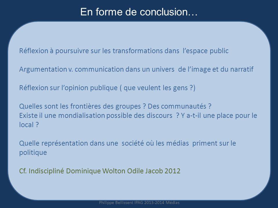 En forme de conclusion… Réflexion à poursuivre sur les transformations dans lespace public Argumentation v.