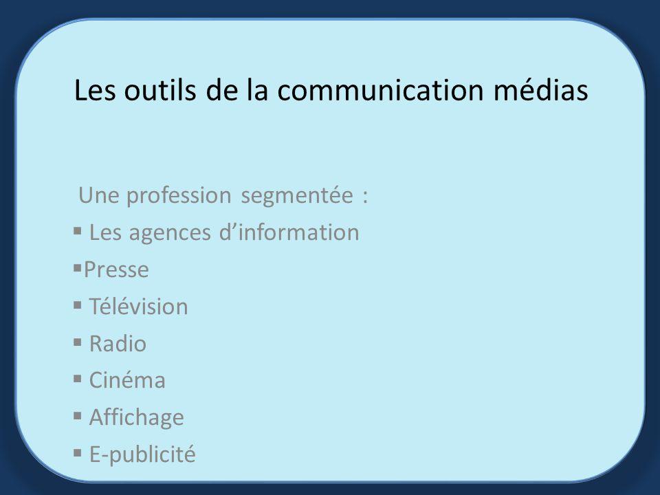 Les outils de la communication médias Une profession segmentée : Les agences dinformation Presse Télévision Radio Cinéma Affichage E-publicité