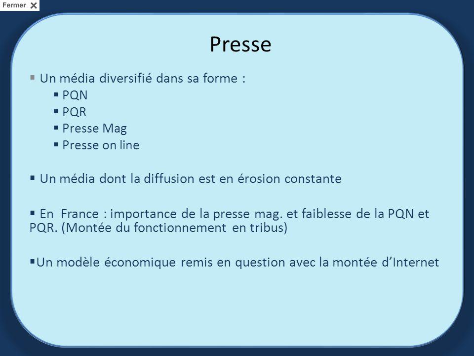 Presse Un média diversifié dans sa forme : PQN PQR Presse Mag Presse on line Un média dont la diffusion est en érosion constante En France : importance de la presse mag.