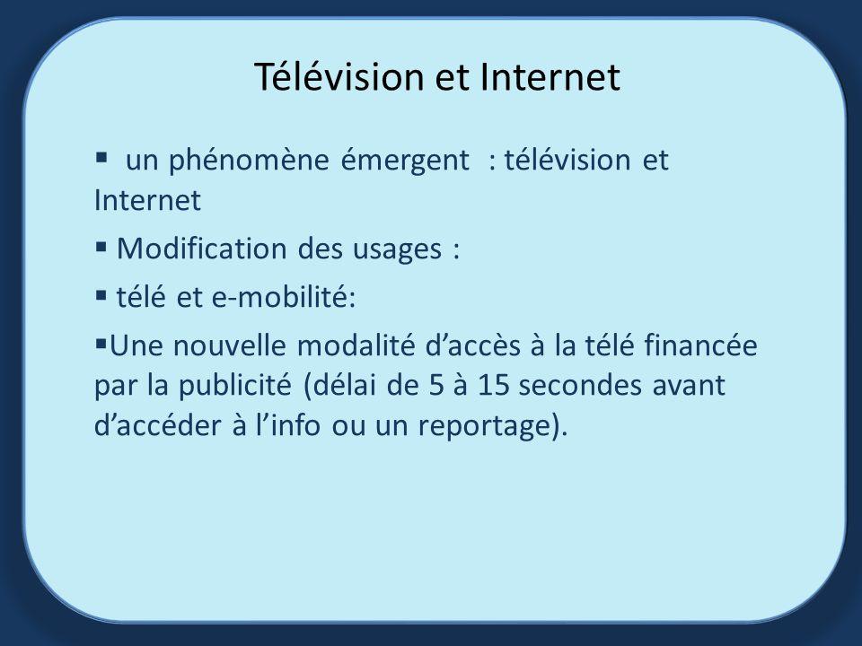 Télévision et Internet un phénomène émergent : télévision et Internet Modification des usages : télé et e-mobilité: Une nouvelle modalité daccès à la télé financée par la publicité (délai de 5 à 15 secondes avant daccéder à linfo ou un reportage).