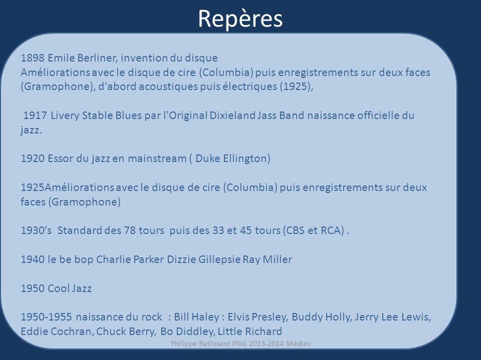 Repères 1898 Emile Berliner, invention du disque Améliorations avec le disque de cire (Columbia) puis enregistrements sur deux faces (Gramophone), d abord acoustiques puis électriques (1925), 1917 Livery Stable Blues par l Original Dixieland Jass Band naissance officielle du jazz.