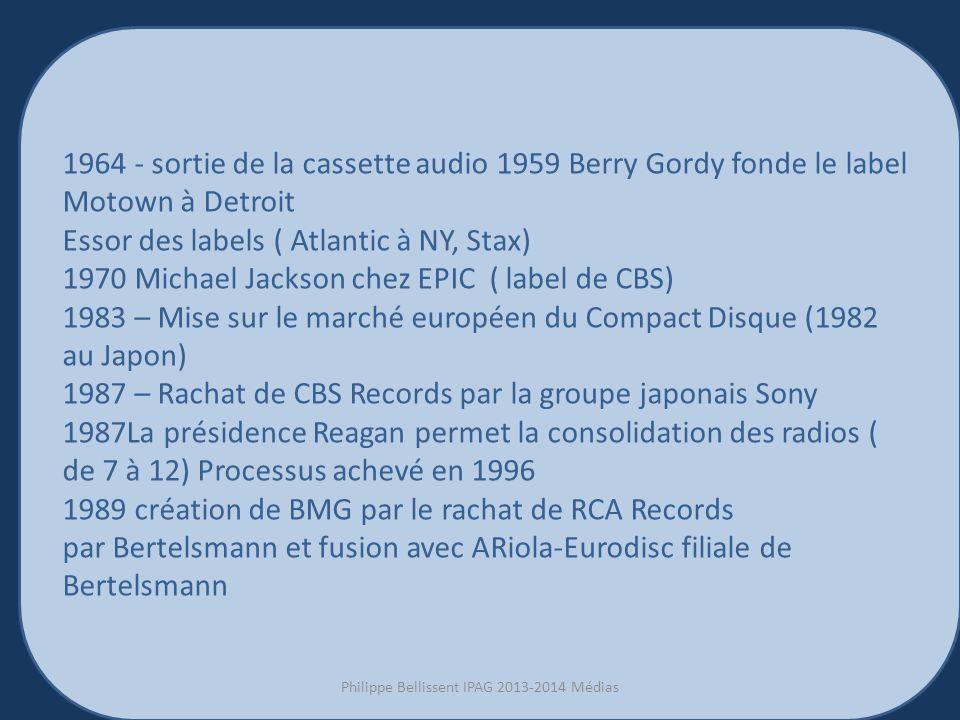 3 1964 - sortie de la cassette audio 1959 Berry Gordy fonde le label Motown à Detroit Essor des labels ( Atlantic à NY, Stax) 1970 Michael Jackson chez EPIC ( label de CBS) 1983 – Mise sur le marché européen du Compact Disque (1982 au Japon) 1987 – Rachat de CBS Records par la groupe japonais Sony 1987La présidence Reagan permet la consolidation des radios ( de 7 à 12) Processus achevé en 1996 1989 création de BMG par le rachat de RCA Records par Bertelsmann et fusion avec ARiola-Eurodisc filiale de Bertelsmann Philippe Bellissent IPAG 2013-2014 Médias