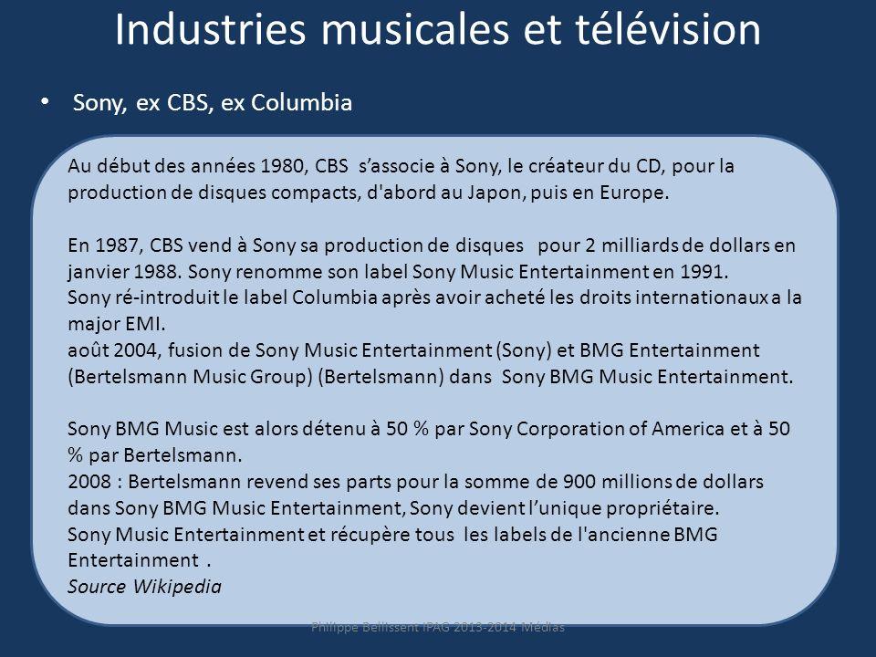 Industries musicales et télévision Sony, ex CBS, ex Columbia Au début des années 1980, CBS sassocie à Sony, le créateur du CD, pour la production de disques compacts, d abord au Japon, puis en Europe.
