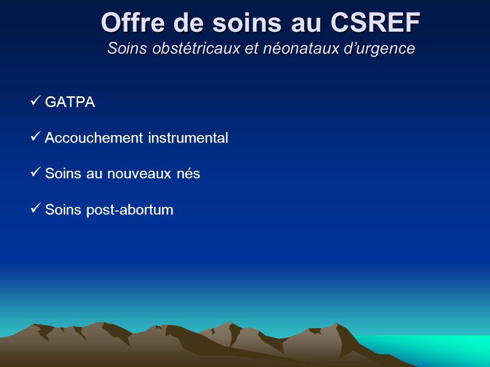 Offre de soins au CSREF Soins obstétricaux et néonataux durgence GATPA Accouchement instrumental Soins au nouveaux nés Soins post-abortum