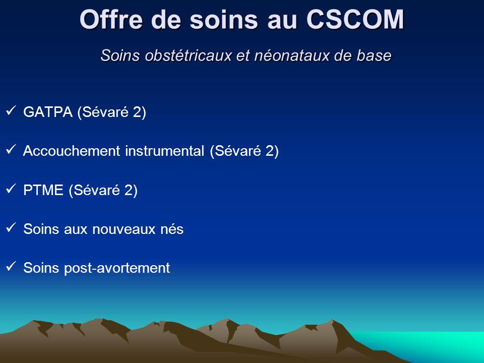 Offre de soins au CSCOM Soins obstétricaux et néonataux de base GATPA (Sévaré 2) Accouchement instrumental (Sévaré 2) PTME (Sévaré 2) Soins aux nouvea
