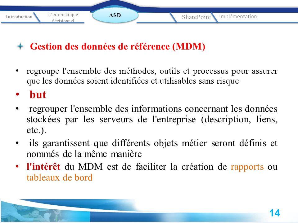 Gestion des données de référence (MDM) regroupe l'ensemble des méthodes, outils et processus pour assurer que les données soient identifiées et utilis