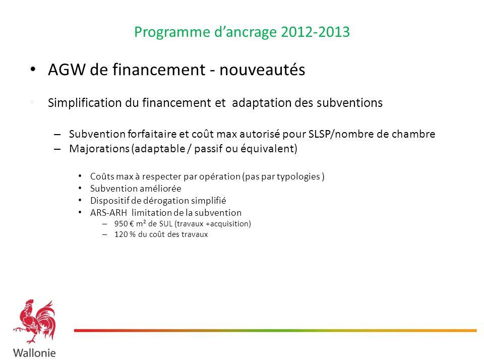 Programme dancrage 2012-2013 AGW de financement - nouveautés Simplification du financement et adaptation des subventions – Subvention forfaitaire et c