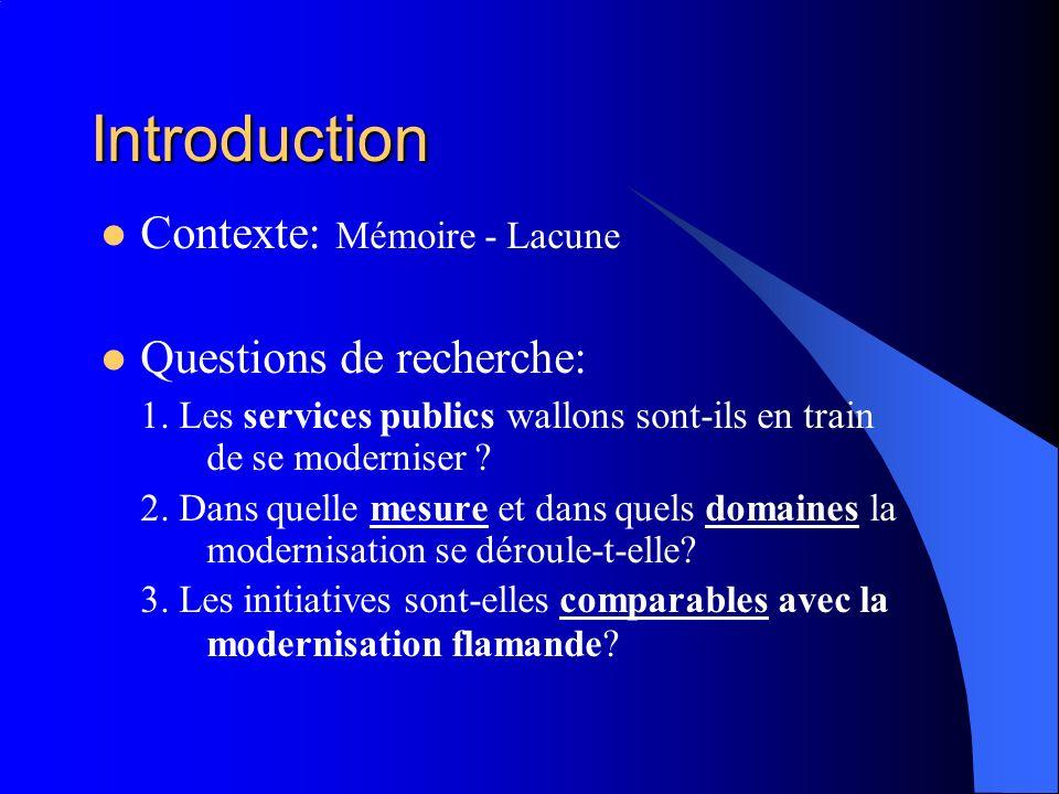 Introduction Contexte: Mémoire - Lacune Questions de recherche: 1. Les services publics wallons sont-ils en train de se moderniser ? 2. Dans quelle me