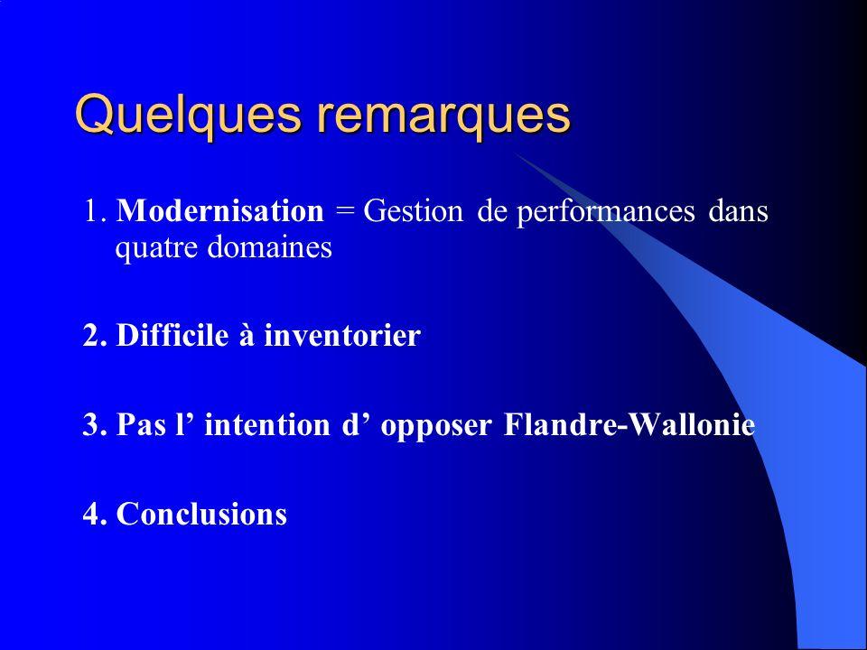 Quelques remarques 1. Modernisation = Gestion de performances dans quatre domaines 2. Difficile à inventorier 3. Pas l intention d opposer Flandre-Wal