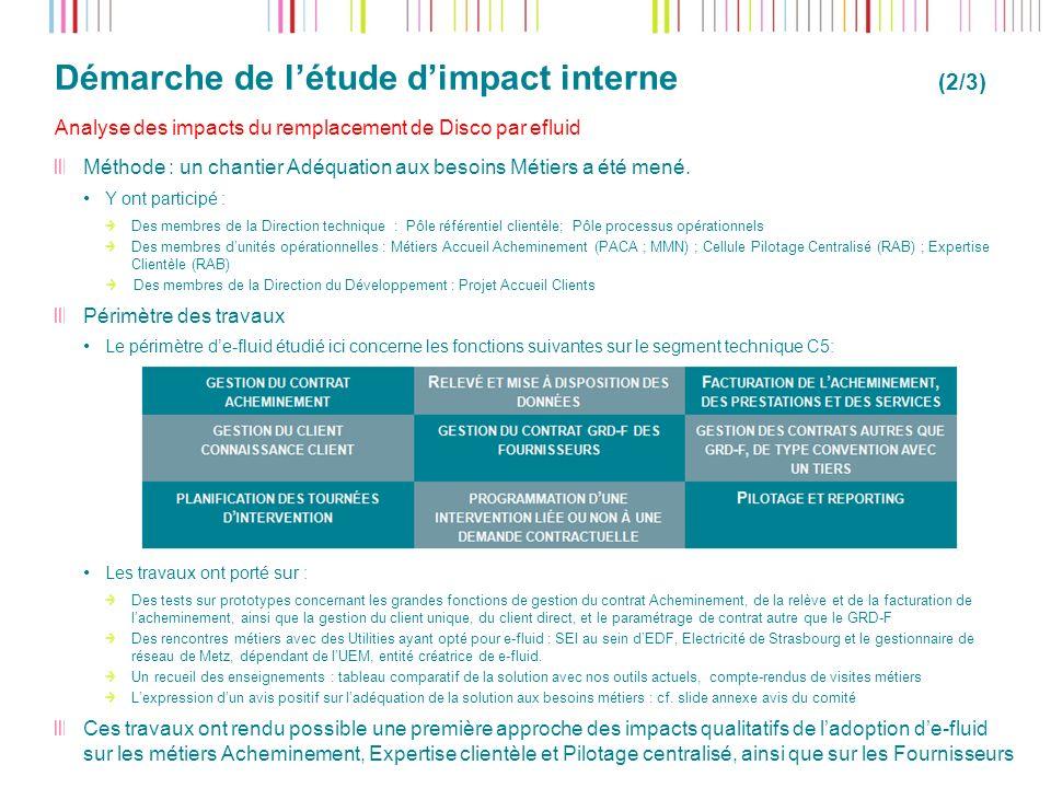 Démarche de létude dimpact interne (2/3) 13 Analyse des impacts du remplacement de Disco par efluid Méthode : un chantier Adéquation aux besoins Métie