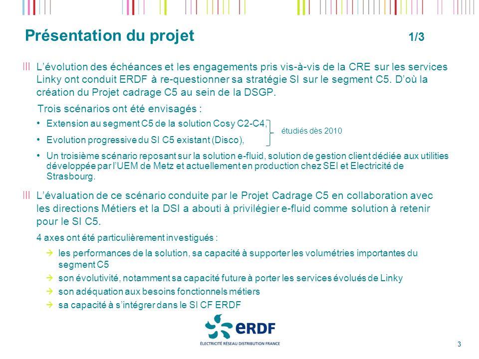 Présentation du projet 1/3 Lévolution des échéances et les engagements pris vis-à-vis de la CRE sur les services Linky ont conduit ERDF à re-questionn