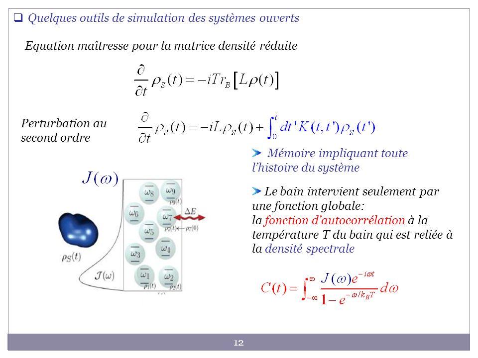 12 Equation maîtresse pour la matrice densité réduite Mémoire impliquant toute lhistoire du système Perturbation au second ordre Quelques outils de si