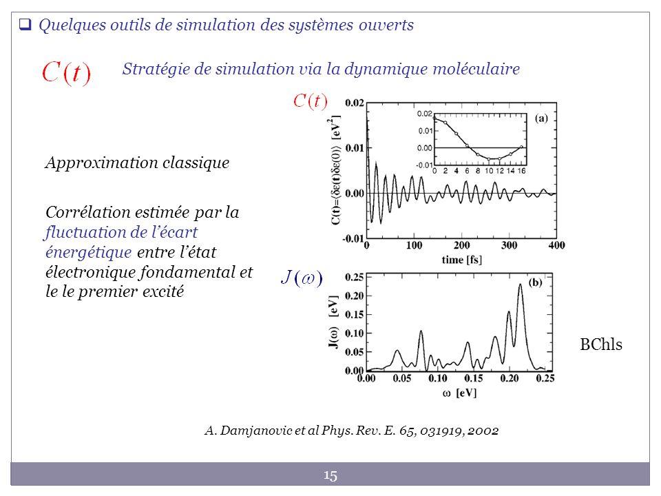 15 Quelques outils de simulation des systèmes ouverts Stratégie de simulation via la dynamique moléculaire A. Damjanovic et al Phys. Rev. E. 65, 03191