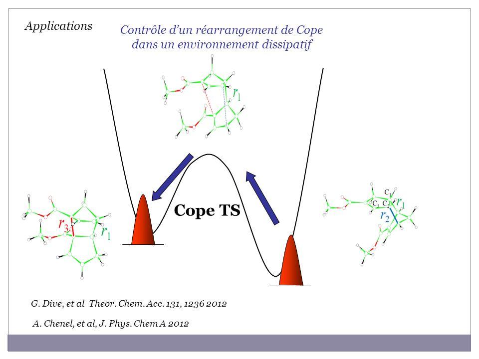 Cope TS Applications A. Chenel, et al, J. Phys. Chem A 2012 G. Dive, et al Theor. Chem. Acc. 131, 1236 2012 Contrôle dun réarrangement de Cope dans un