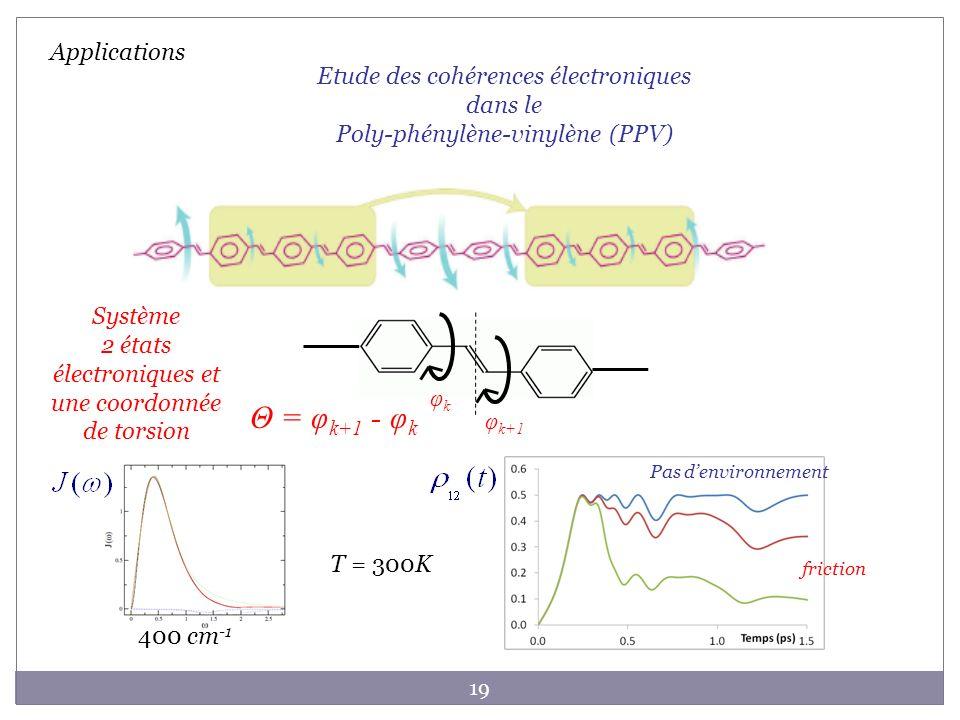19 Applications φkφk φ k+1 Θ = φ k+1 - φ k Etude des cohérences électroniques dans le Poly-phénylène-vinylène (PPV) 400 cm -1 T = 300K Pas denvironnem